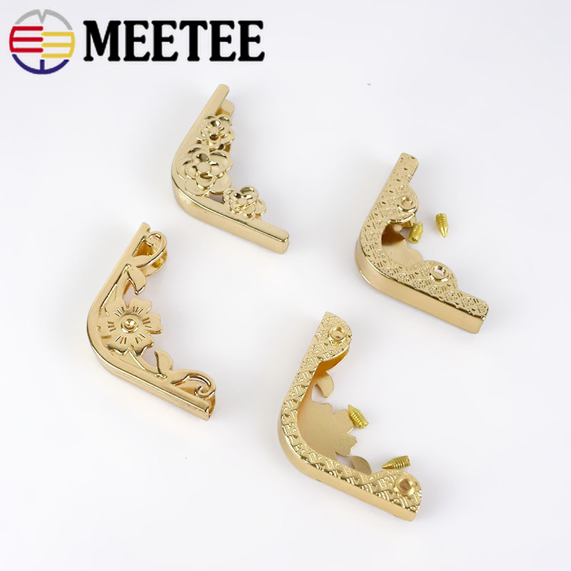 Meetee 4/10pcs 35X46mm Bag Corner Protector Metal Buckles For Books Photo Menus Corner Clip Hook DIY Luggage Hardware Accessory