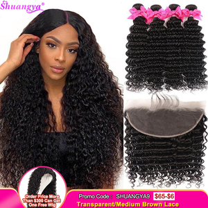 Brazilian Deep Wave Bundles With Frontal 100% Remy Human Hair 3/4 Bundles With Frontal Shuangya hair Lace Frontal With Bundles(China)