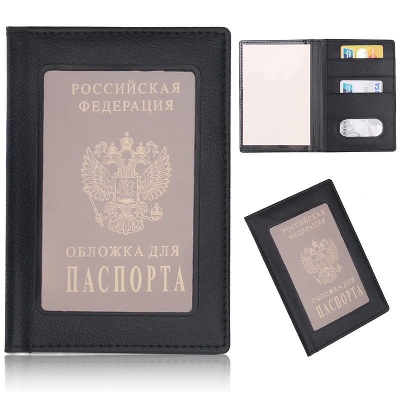 Vintage Russia Window Passport Cove Travel Accessories ID Address Holder Portable Boarding Card Case PU Leather Men Wallets Bag