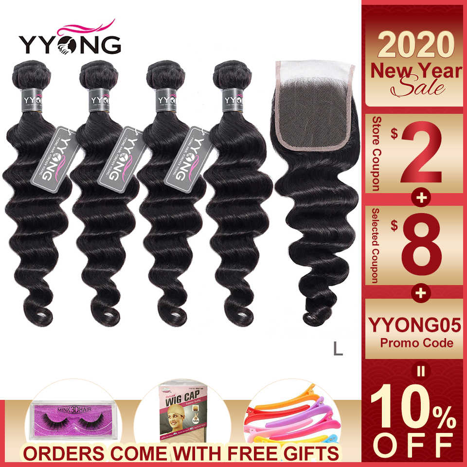 Yyong Hair 3 / 4 Brazilian Loose Deep Wave Bundles With Closure 100% Remy Human Hair Weave Bundles With Lace Closure Can Be Dyed