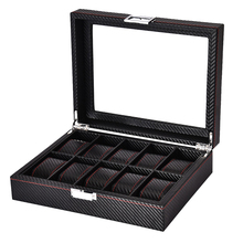 10-Slot Watches Collection Box Clear Top Display Watch Case PU Leather Wrist Watch Organizer top margo collection top