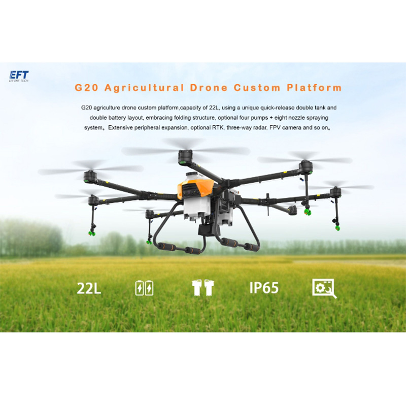 NEW EFT G20 Agricultural Drone 22L Double Tank Double Battery Eight Nozzle Spraying System