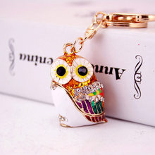 Fashion 3D Owl Keyrings Cartoon Bird Keychains Crystal Rhinestones Multicolor Enamel Glazing Key Chain Ring Holder For Car Holde(China)