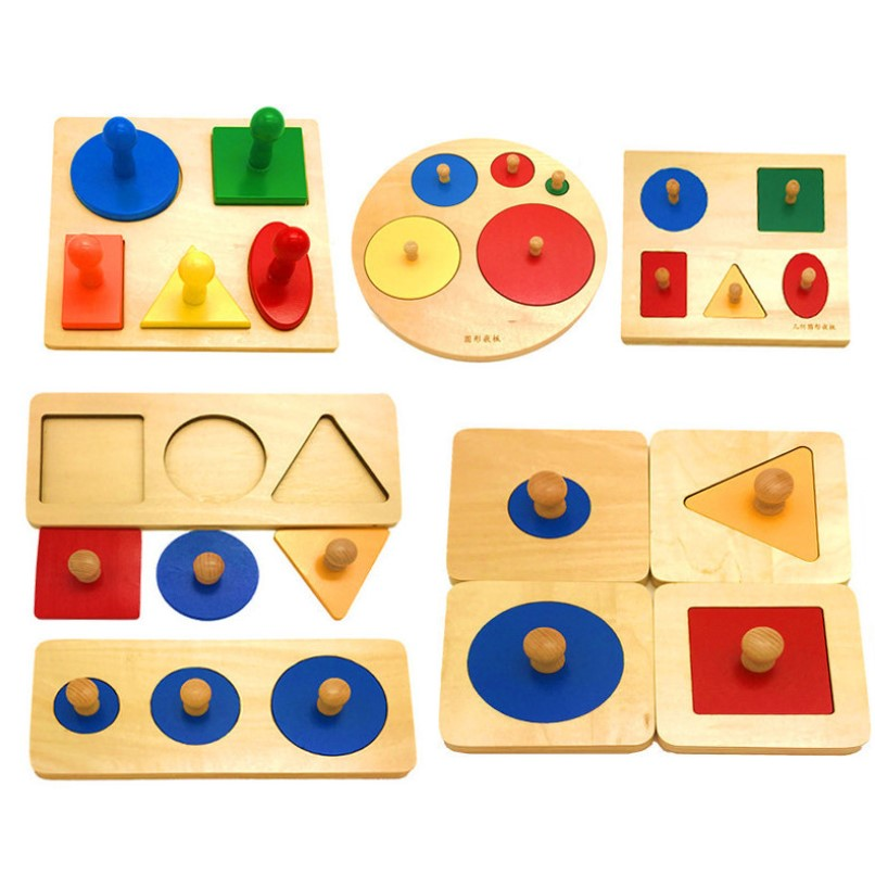 Wooden Geometric Shapes Matching Puzzle Sorting Maths Montessori Preschool Learning Educational Game Mathematics Toys Children Christmas Gift Child 1-3 years Educational Teaching Aids natural Wood Toy