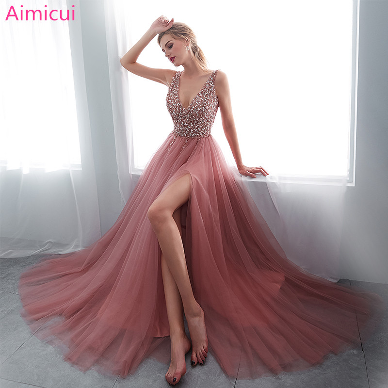 V Neck Beading Evening Dress Back Lace Up Evening Dress With Slit Evening Gown 2019 Long Prom Dress Robe De Soiree