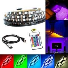 5 v rgb led strip usb tv backlight 5050 0.5/1/2/3/4/5m tira de luz led com controle ir rf para a fita do diodo da fita da lâmpada do pc do desktop