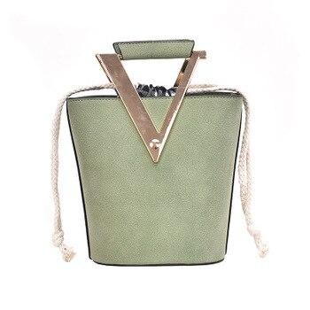 Female Bag 2019 New Fashion Autumn And Winter Small Fresh Big v Matte Bucket Pumping Chain Single Shoulder Messenger - sale item Women's Handbags