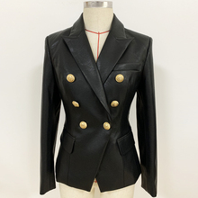 הכי חדש סתיו חורף 2020 מעצב בלייזר מעיל נשים של האריה מתכת כפתורי טור כפתורים כפול סינטטי עור בלייזר מעילblazer overcoatblazer jacket womendesigner blazer