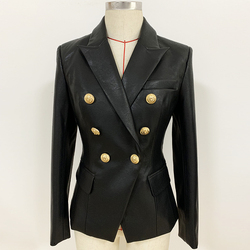 Newest Fall Winter 2019 Designer Blazer Jacket Women's Lion Metal Buttons Double Breasted Synthetic Leather Blazer Overcoat
