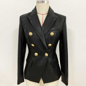 Newest Fall Winter 2019 Designer Blazer Jacket Women's Lion Metal Buttons Double Breasted Synthetic Leather Blazer Overcoat - DISCOUNT ITEM  33% OFF All Category