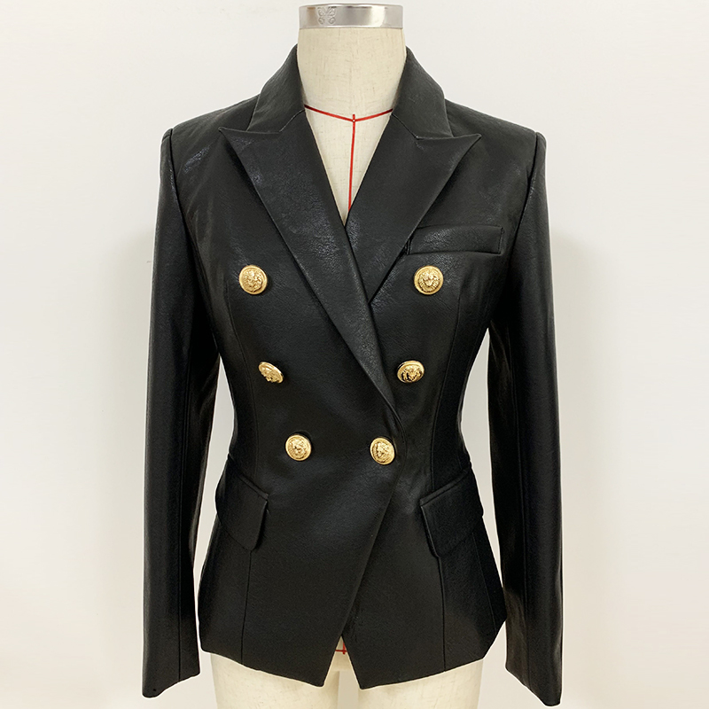Newest Fall Winter 2020 Designer Blazer Jacket Women's Lion Metal Buttons Double Breasted Synthetic Leather Blazer Overcoat