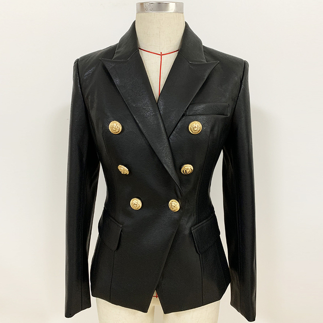Newest Fall Winter 2020 Designer Blazer Jacket Womens Lion Metal Buttons Double Breasted Synthetic Leather Blazer Overcoatblazer overcoatblazer jacket womendesigner blazer