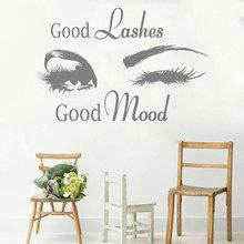 Eyelash Vinyl Sticker Beauty Salon Eyelash Brows Decal Good Lashes Good Mood Quotes Wallpaper Salon Studio Window Murals E304 good mood повседневные брюки