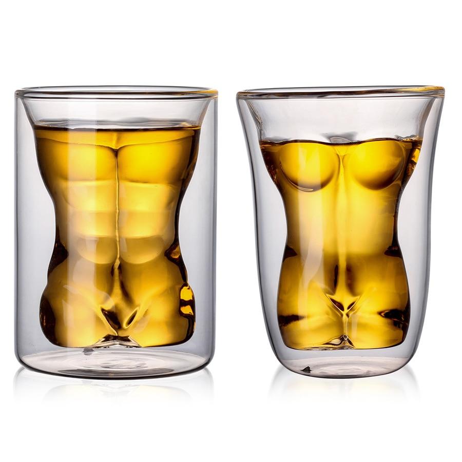 2PCS Double Wall Glass Kawaii Anti-hot Male And Female Naked Body Coffee Mug Wine Glass Cups Beer Shot Glass