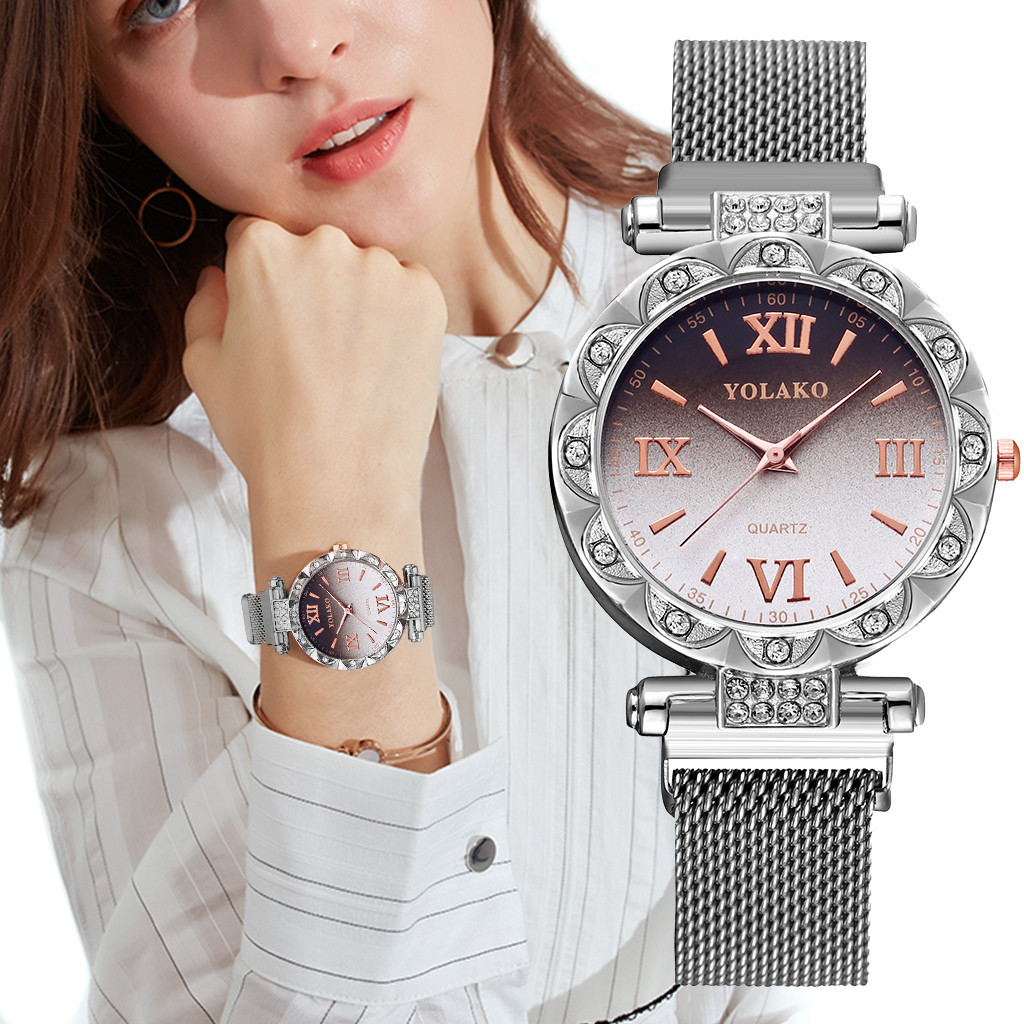 YOLAKO Quartz Watch Women Ladies Luxury Simple Stainless Steel Band наручные часы Magnet Buckle Gradient Roma Dial Wrist Watch