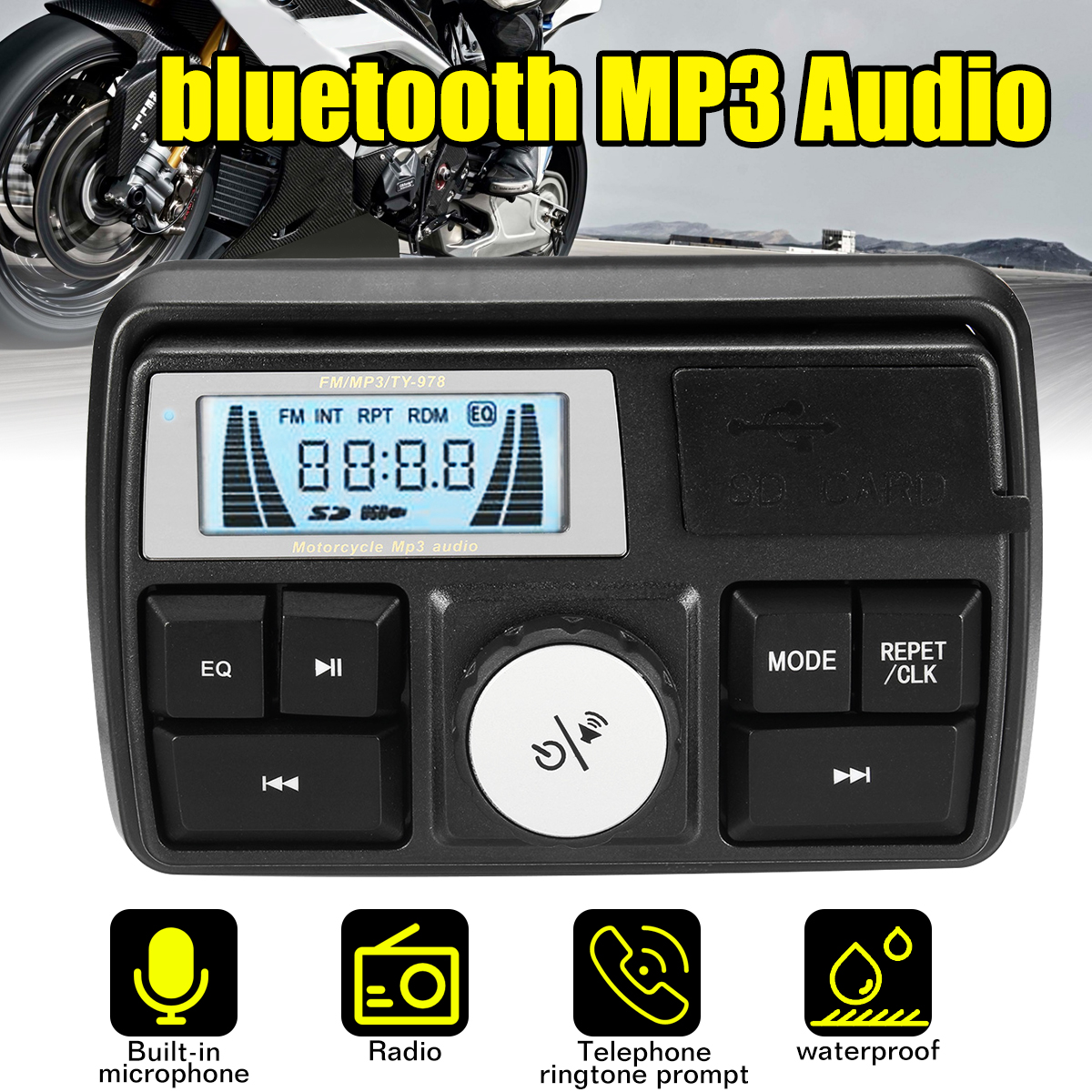 Anti-Theft Motorcycle Audio FM MP3 Sound Player System Bluetooth Waterproof Multifunctional MP3 Audio DC 12V LCD Display