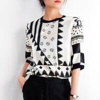 VERDEJULIAY Office Ladies Silk T Shirt Runway Fashion Summer Women XXL Tees Black Flower Print Casual Holiday T Shirts