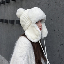 Cold Winter Women Knitting Ushanka Hat Caps Snow Days Thick Warm Ear Protector Bomber Fur Hats Tied