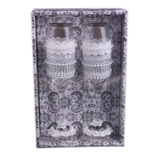 2Pcs Set Wedding Glass Creative Crystal Champagne Glasses Lace Dress Goblet Red Wine Cup Decoration