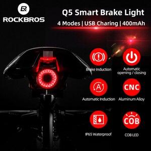 ROCKBROS велосипедный умный автомобильный стоп-датчик, светильник IPx6, водонепроницаемый светодиодный зарядный велосипедный задний светильник...