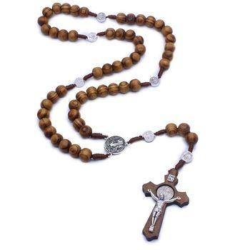 الأزياء اليدوية جولة حبة مسبحة كاثوليكية الصليب الدينية خرزات خشبية الرجال حلية قلادة هدية