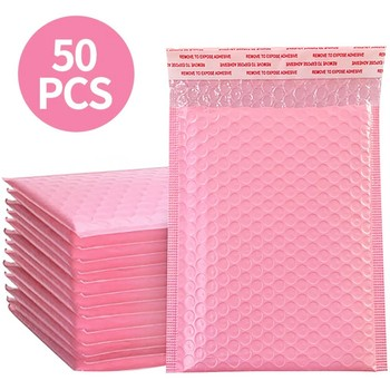 50 sztuk koperta bąbelkowa s różowy Poly koperta bąbelkowa samo uszczelnienie koperty bąbelkowe torby na prezenty dla książka magazyn pokryte Mailer samoprzylepny różowy tanie i dobre opinie ISHOWTIENDA CN (pochodzenie) 13 x 18cm Mailer Self Seal Pink Okna koperty Pearl film Prezent koperty Foam Envelope Bags