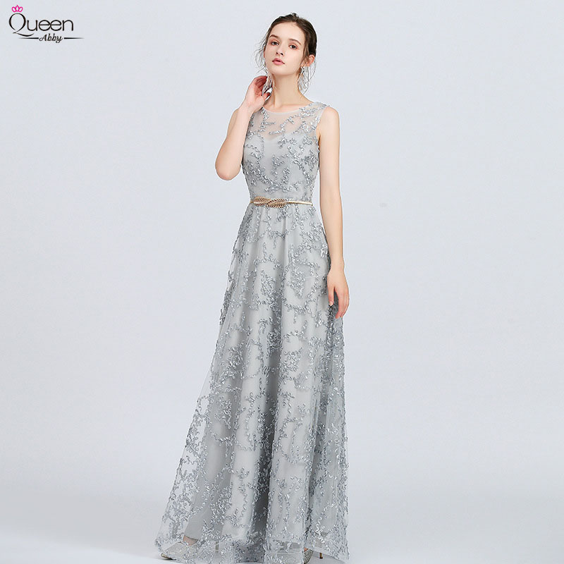 Lace Prom Dresses Long A Line Sleeveless Zipper Up Grey Formal Dress With Sash Appliques Women Occasion Party Gown Robe De Soire