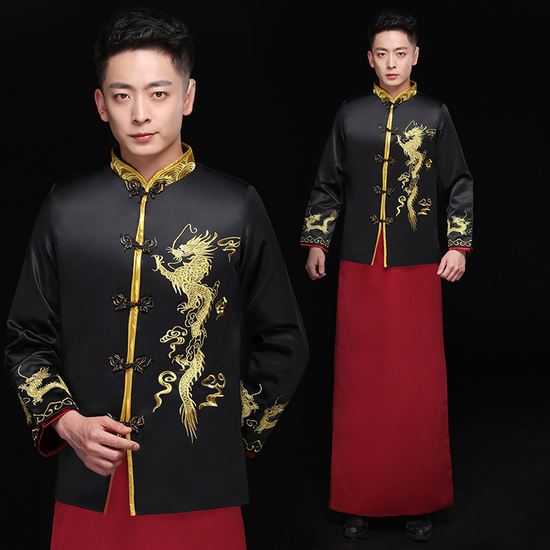 Male Red Cheongsam Toast Costumes Grooms Wear Jacket Long Gown Traditional Chinese Style Wedding Qipao Men Embroidery Tang Suit