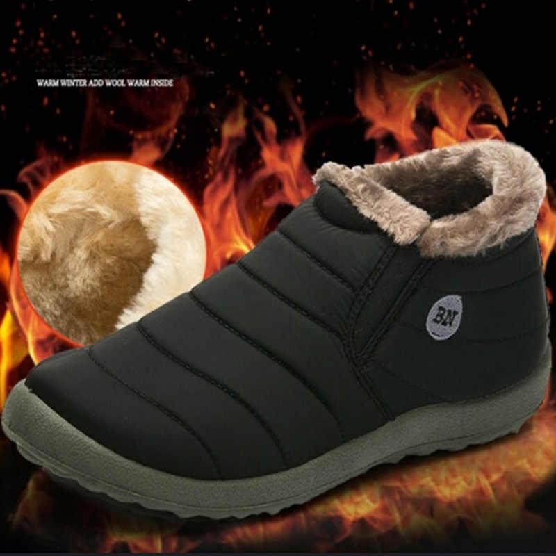 חדש שלג מגפי נשים נעלי החורף שטוח יוניסקס קרסול מגפי נקבה להחליק על פרוותי פרווה החלקה בתוספת גודל חם קטיפה זוג סגנון כותנה