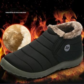 Nowe buty śniegowe damskie buty zimowe płaskie Unisex botki damskie Slip On Furry Fur Skid Plus rozmiar ciepły pluszowy styl pary bawełny tanie i dobre opinie KAMUCC Nietekstylne ANKLE Wsuwane Stałe WS104 Dla osób dorosłych Dobrze pasuje do rozmiaru wybierz swój normalny rozmiar