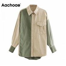 Patchwork Jacket Boyfriend Aachoae Women Coat Shirt Streetwear-Tops Long-Sleeve Autumn