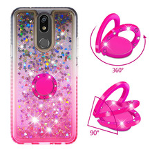 Quicksand Giltter Phone Case for LG K40 K12 Plus Case for Stylo 5 Cover TPU Liquid Bling Diamond Bracket Finger Ring Funda Coque