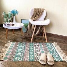 레트로 카펫 소파 거실 침실 깔개 주방 러그 코튼 Tassels 만다라 카펫 테이블 러너 도어 매트 홈 인테리어