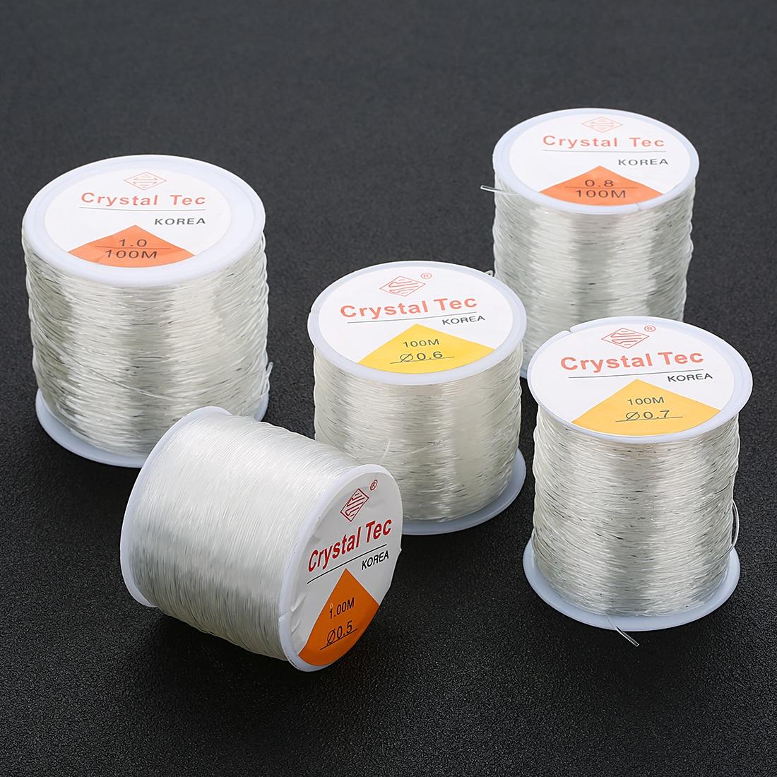 1.2 mm Estiramiento Elástico Transparente Transparente Cristal Tec cadena cordón abalorios Craft