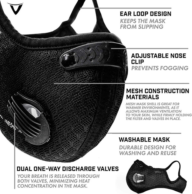Breathable Bacteria-proof Sport Face Mask With Activated Carbon PM 2.5 Anti-pollution Running Cycling Facial Care Mask 4