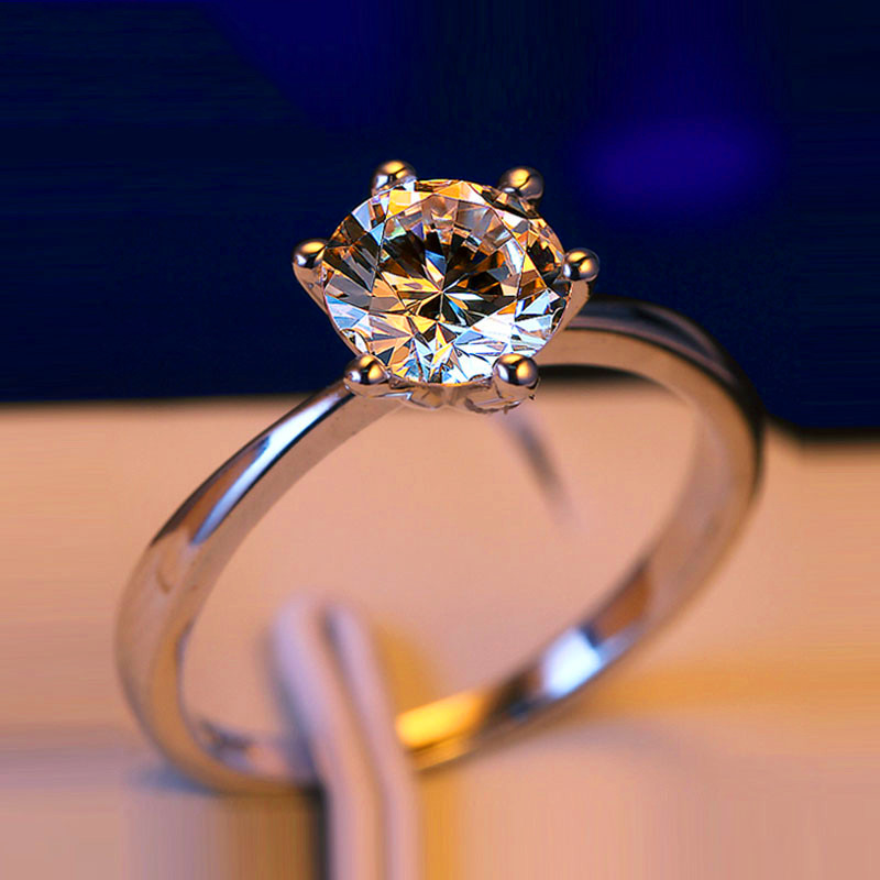 90% OFF Luxury Female Small Lab Diamond Ring Real 925 Sterling Silver Engagement Ring Solitaire Wedding Rings For Women(China)
