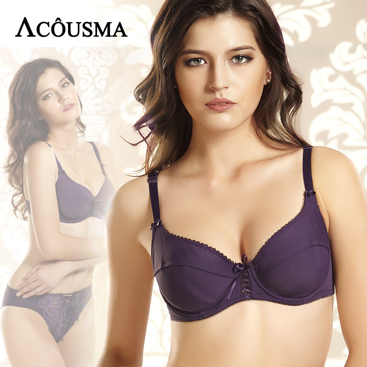 ACOUSMA Women Sexy Soft Everyday Bra Brief Sets 3/4 Cup Push Up Female Lingerie Sets Embroidery Lace Lace Up Panties Purple