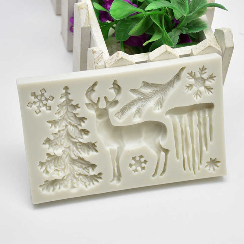 Pohon Natal Elk Kepingan Salju Bentuk Cetakan Silikon untuk Buatan Tangan Kue Menghias Cokelat Fondant Lilin Cetakan Baking Alat Pesta