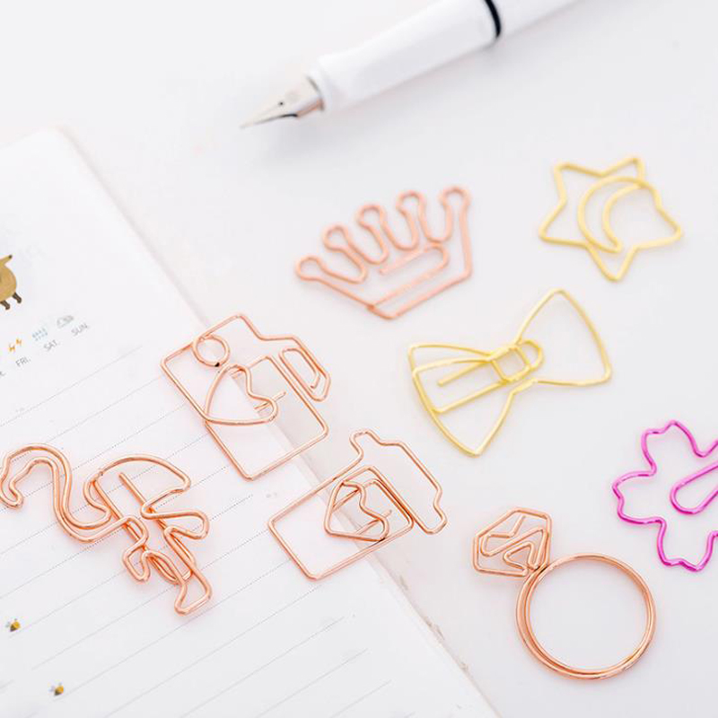 5 Pcs/set Mini Rose Gold Flamingo Camera Sakura Crown Star Paper Clips Bookmark Photo Memo Ticket Binder Clip Office Statioinery