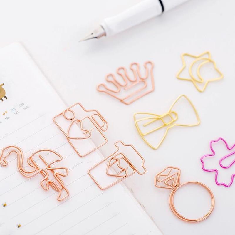 5 Pcs/set Mini Rose Gold Flamingo Camera Sakura Crown Star Paper Clips Bookmark Photo Memo Ticket Binder Clip Office Statioinery