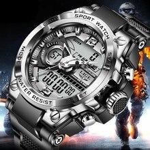 Relogio Masculino 2021 LIGE spor erkekler kuvars dijital saat yaratıcı dalış saatler erkekler su geçirmez Alarm izle çift ekran saat