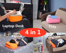 Portable Laptop Desk/Stand, Car Seat Cushion, Tea/File/Storage Tray, Nap Pillow 4in1, Notebook Stand for Pad/Phone/Mac