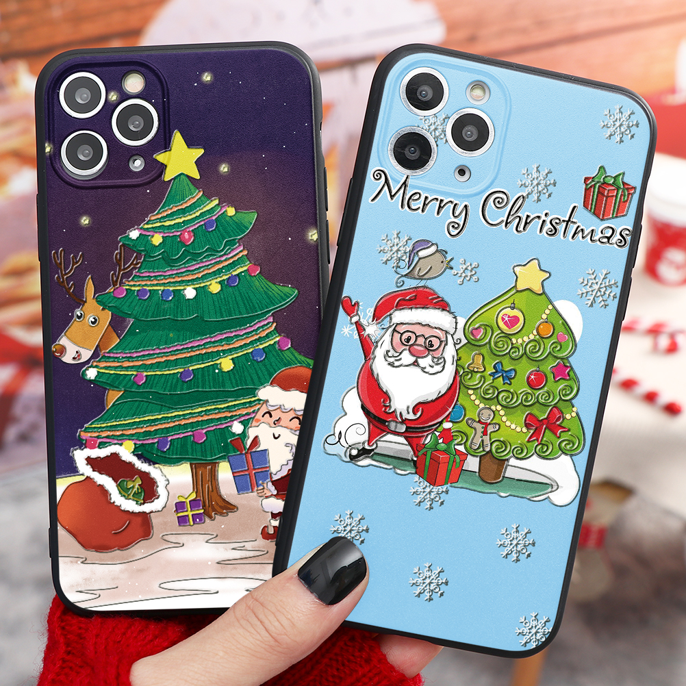 3D Relief Emboss Christmas Cartoon Phone Case For iPhone 12