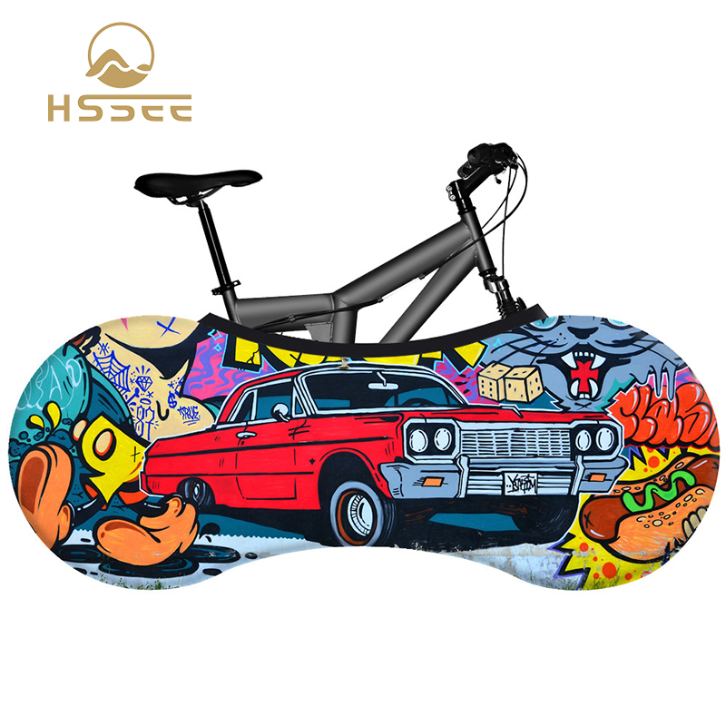 HSSEE graffiti series bicycle cover premium elastic milk silk fabric road bike indoor dust cover non-fading bicycle accessories
