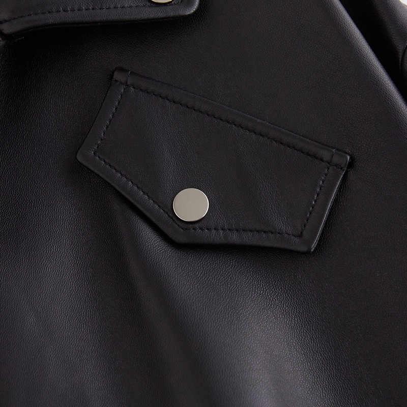 Inter Putih Hitam Plus Ukuran PU Jaket Kulit untuk Wanita Lengan Panjang Zipper Longgar Musim Semi Jaket Biker Kulit Wanita