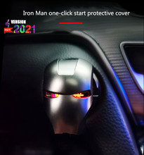 Decoration Iron Man Car start button Interior Engine Ignition Start Stop Button Protective Cover Decoration Sticker Car Interior