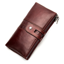 New Vintage Leather Wallet Long Men and Women Clutch Bag Multi-Function Wallet Wallet Purse wallet lady holding the purse 2017 new leather long pure color wallet wallet hand bag