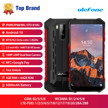 Купить Ulefone Armor X5 Pro Прочный водонепроницаемый смартфон Android 10,0 мобильный телефон NFC 4G LTE мобильный телефон 4 Гб + 64 Гб Восьмиядерный процессор