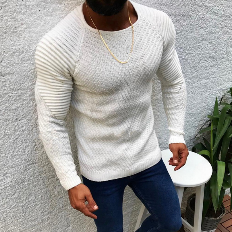 Men Fashion Knitted Pullovers Male Solid Color O-neck Striped Long Sleeve Sweater Autumn Winter Slim Fit Casual Sweater 2019 New