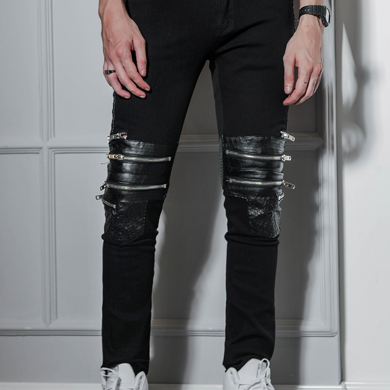 European And American Nightclubs Hip Hop West Coast High Street Style Hip-hop Slim Fit Zipper PU Stitching Black Jeans Men's Bri